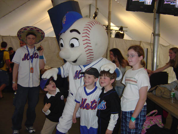 Mr. Met and Students