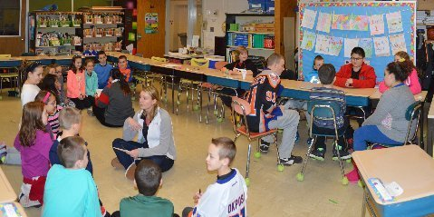 Student Athletes Interact with Elementary School Kids